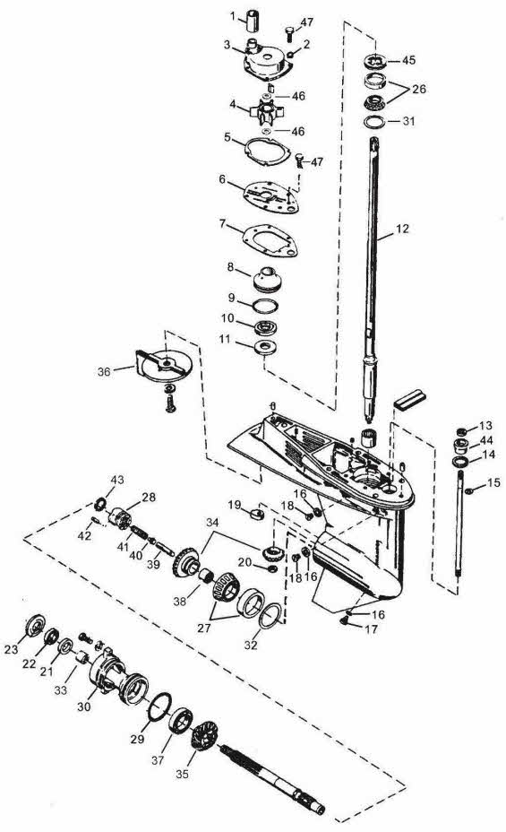 mercury outboard parts drawing 40 n 25 to 47
