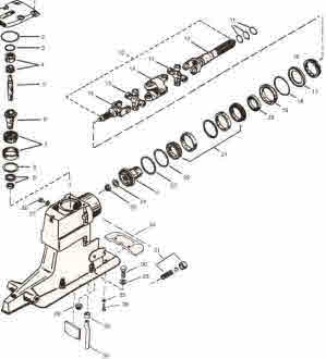 Mercruiser Alpha 1 Generation 2 upper gearcase parts drawing