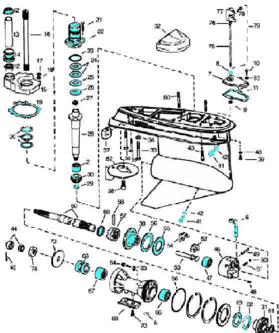 OMC Cobra rebuild drawing for parts included in kit