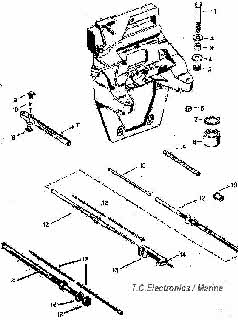 mercruiser shift cable parts drawing  transom plate