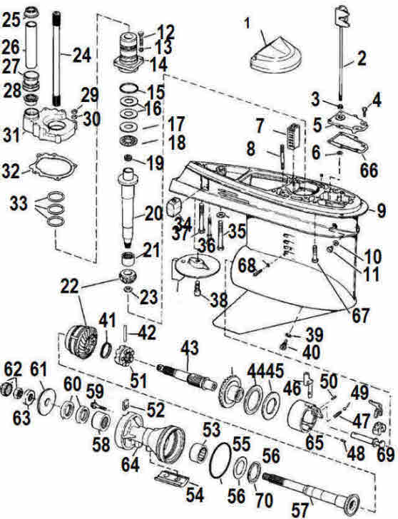 OMC Cobra counter rotating lower unit outdrive parts drawing