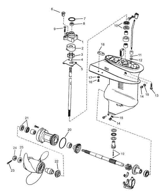 Johnson Parts Drawing 9 9 To 15 Hp 1974 And Up