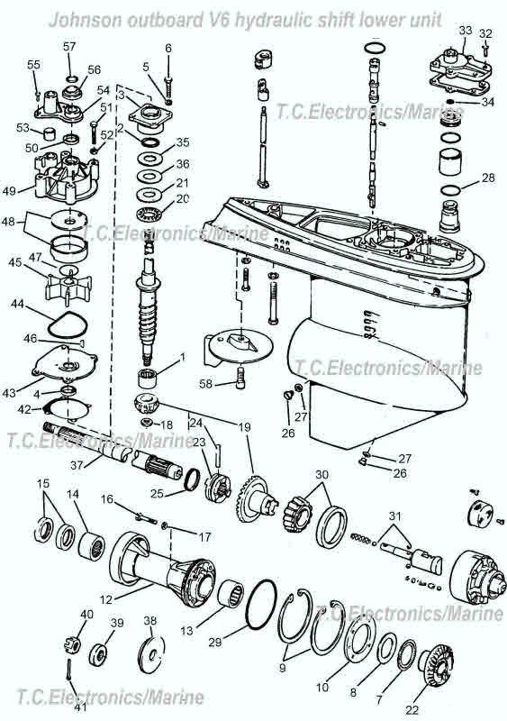 v6 johnson hydraulic shift omc parts drawing   1