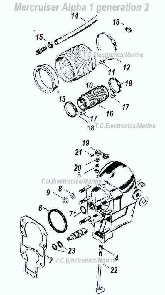 Gimbal bearing kit with Gasket for Mercruiser Alpha One Gen 1 Gen 2 Model R//MR