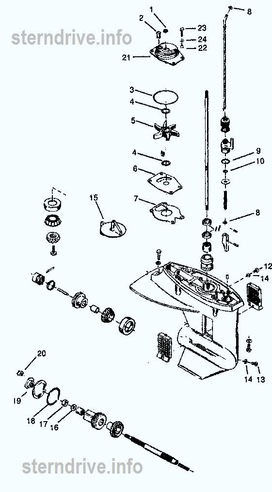 mercury outboard parts drawing 18xd  20  u0026 25 hp