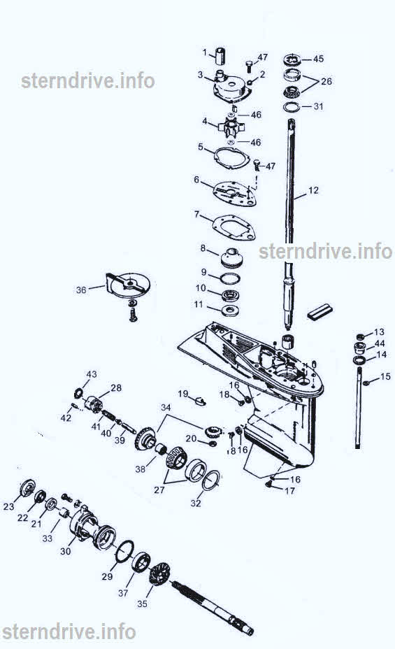 Mercury outboard parts drawing 40-60 hp  P/N 1 to 24