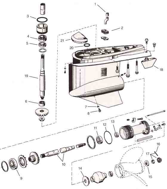 volvo  omc cobra sx omc parts drawing  lower unit